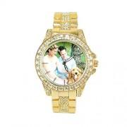 Top WH Bling-ed out Round Luxury Watch, Reloj Personalizado de Hip Hop para Mujer con Diamantes simulados Relojes con Movimiento de Cuarzo de Japón para Mujeres Relojes a Todo Color con Foto y Foto