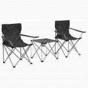 vidaXL Комплект маса и столове за къмпинг, 3 части, сив