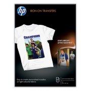 HP Iron-On T-Shirt Transfers (A4) 10 sht pk, inkjet receptive transfers for applying designs and photos to cotton or poly-cotton blend fabric. Designed for DeskJet 600 and 800 series printers.