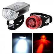 3-Mode 2-LED bicicleta luz blanca + luz trasera luz roja - negro + rojo
