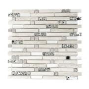 Mozaic sticla-piatra naturala XCM MV818 mix bej, imitatie lemn, 30x30 cm