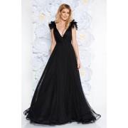 Fekete Ana Radu luxus mellrésznél szivacsos ruha tüllből béléssel mély dekoltázzsal