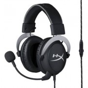 Геймърски слушалки hyperx, cloud silver, микрофон, черен, kin-head-hx-hscl-sr/na