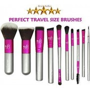 Star State Marketing Inc Travel Makeup Brush Set ESSENTIALS Star Beauty Premium Synthetic Brushes ALL Application of Powder, Blush, Foundation, Eye Liner, Eye shadow, Concealer & Contour BEST SELLER to achieve glamorous look