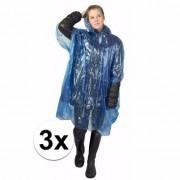 Merkloos 3x wegwerp regenponcho blauw