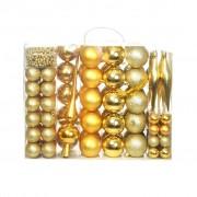 vidaXL Комплект коледни топки от 113 части, 6 см, злато