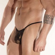 Don Moris Zebra Printed Fabric Rings Thong Underwear DM031761