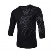 Hombres Camiseta De Manga Larga De Base Con Dragón Patrón (negro)