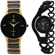 IIK Collection GoldBlack With Glory Black Chain Best Designing Stylist Analog Watch For Men And Women Cupple Watch Pack Of 2 Boys Girls Combo Watch