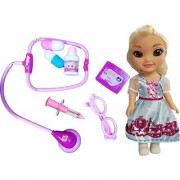 Emob 7 PCS Medical Equipments Doctor Play Set Toy with Pretty Princess Doll with 3D Eyes for Kids (Multicolor)