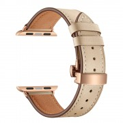 Genuine Leather Watch Band Replacement Strap for Apple Watch Series 4 5 44mm/ Series 1 2 3 42mm - Rose Gold Buckle/Apricot
