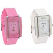 Kayra Glory Kawa Combo Of Two Watches-Baby Pink White Rectangular Dial Kawa Watch For Women