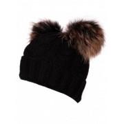 Черна плетена шапка с пух
