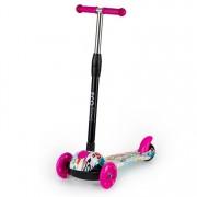 Trotineta pliabila scooter pentru copii, cu 3 roti iluminate LED, inaltime reglabila, 80kg, roz/rosu graffiti