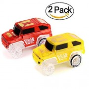 Cars Track(2-Pack),Glow in the Dark Compatible with Most of Tracks Accessories,Best Gift for Boys and Girls ((2 pack) red+yellow)