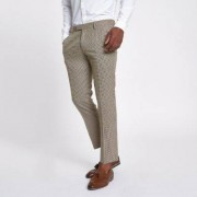 River Island Mens Brown dogstooth check cropped skinny trousers - Size