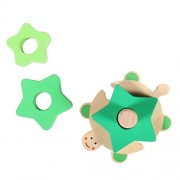 Tradico® Geometric Shapes Sorter Match Toys Wooden Stacking Column for Kids Learning