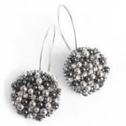 Cercei glob handmade cristale si perle Swarovski 2 fete tija argint 925 Argintiu - Negru