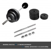 Pack Barra Recta + 2 Mancuernas + 50 Kg En Discos