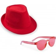 Rood trilby party hoedje met rode zonnebril