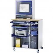 RAU Computer-Arbeitsplatz HxBxT 1820 x 1030 x 660 mm, mit Monitorgehäuse, fahrbar anthrazit-metallic / enzianblau