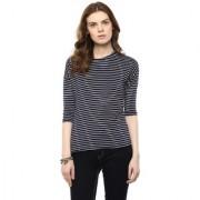 Hypernation Striped Women Round Neck T-shirt