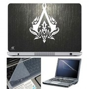 FineArts Laptop Skin 15.6 Inch With Key Guard & Screen Protector - Assasin Logo on Leather Texture