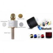 Mirza Q7 Portable Wireless Karaoke Microphone Handheld Condenser Microphone Inbuilt Speaker Microphone and bluetooth speaker (S10 Speaker Wireless LED Bluetooth Speaker S10 Handfree with Calling Functions & FM Radio Assorted Colour)for SAMSUNG GALAXY C