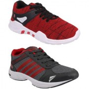 Chevit Men's Combo Pack of 2 Red And Black Running Shoes (Sports Shoes)
