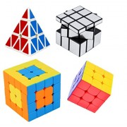 Vortex Toys Magic Cube Puzzle Brainstorming Game[ pyraminx +3x3+4x4 & silver] set of 4 (4 Pieces)