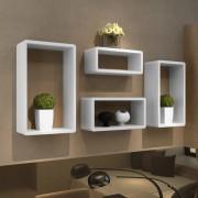 vidaXL Комплект от 4 бели рафта с кубовидна форма