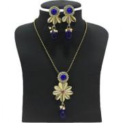 Zaveri Pearls Golden Flower Pendant Set for Women-ZPFK2066
