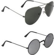 Zyaden Aviator, Round Sunglasses(Black, Silver)