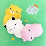 ANABGI 3Pcs Kawaii Slow Rising Squishy Squeezen Cute Cats Mini Toy Stress Reliever Kids Toy Gift (Yellow Pink and White)