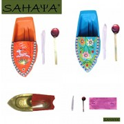 SAHAYA Combo Set of 3 Boats Animal Print/ Flower Print/ Plain Fun Steam Powered Tin Toy Pop Putt Putt Boat Nav Candle Powered Fuel Flame