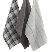 3 Torchons en coton à motifs noirs 45 x 65 cm
