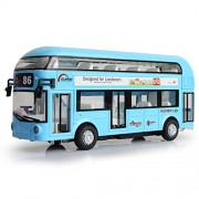 Makimama Alloy London Bus Double Decker Bus Light & Music Open Door Design Metal Bus Diecast Bus Design for Londoners Toy for Children - LKU114-B, Blue