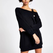 River Island Womens Black buckle strap sweatshirt dress (XS)