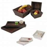 Holzschalen Set, 3x Obstschale Dekoschale T284, 2x Serviertablett T285, Shabby-Look ~ Variantenangebot