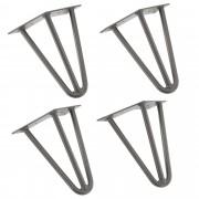 [en.casa]® Stylové stolové nohy 3 – sada noh (4 kusová) - 20 cm - stříbrné