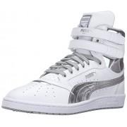 PUMA Men's Sky II HI FG Foil Fashion Sneaker, Puma White/Puma Silver, 8.5 M US