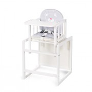 Klups AGA etetőszék - fehér - C1 szürke szivecskés maci