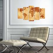 Tablou decorativ multicanvas Charm, 5 Piese, Harta Lumii, 223CHR3950, Multicolor