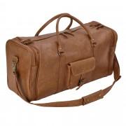 [neu.haus]® Bolsa de viaje Marrón - 27 x 54 x 23 cm Bolsa de cuero sintético Bolsa de deporte Equipaje de mano