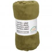 Merkloos Olijf groene warme fleece dekens 150 x 200 cm