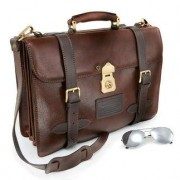 * Chiarugi Navigation Bag A4, Ledertasche, Aktentasche, Umhgängetasche, Handyfach, Stifthülsen, Tragegriff, Schnallenverschluss, Schloss, braun
