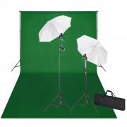 vidaXL Kit de estúdio com fundo verde 600x300 cm e luzes