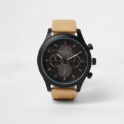 River Island Mens Light Brown and black rose gold tone watch