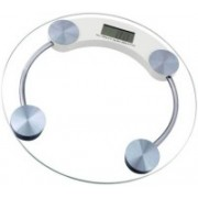 Rorian Personal Health Human Body Weight Machine Digital(2003A) Round Glass Weighing Scale(White)