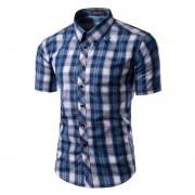 Los Hombres Slim Fit Abajo Contraste Plaid Camiseta De Manga Corta (Lago Azul).